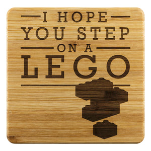 I Hope You Step On A Lego Funny Drink Coasters Set Snarky Humor Gag Gifts Idea-Coasters-Bamboo Coaster - 4pc-JoyHip.Com