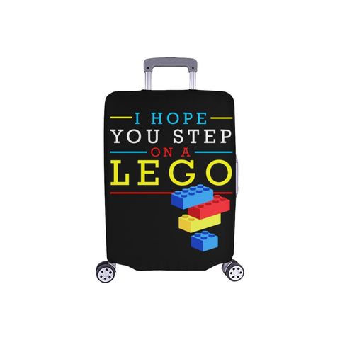 "I Hope You Step On A Lego Funny Travel Luggage Cover Suitcase Protector 18""-28""-S-Black-JoyHip.Com"