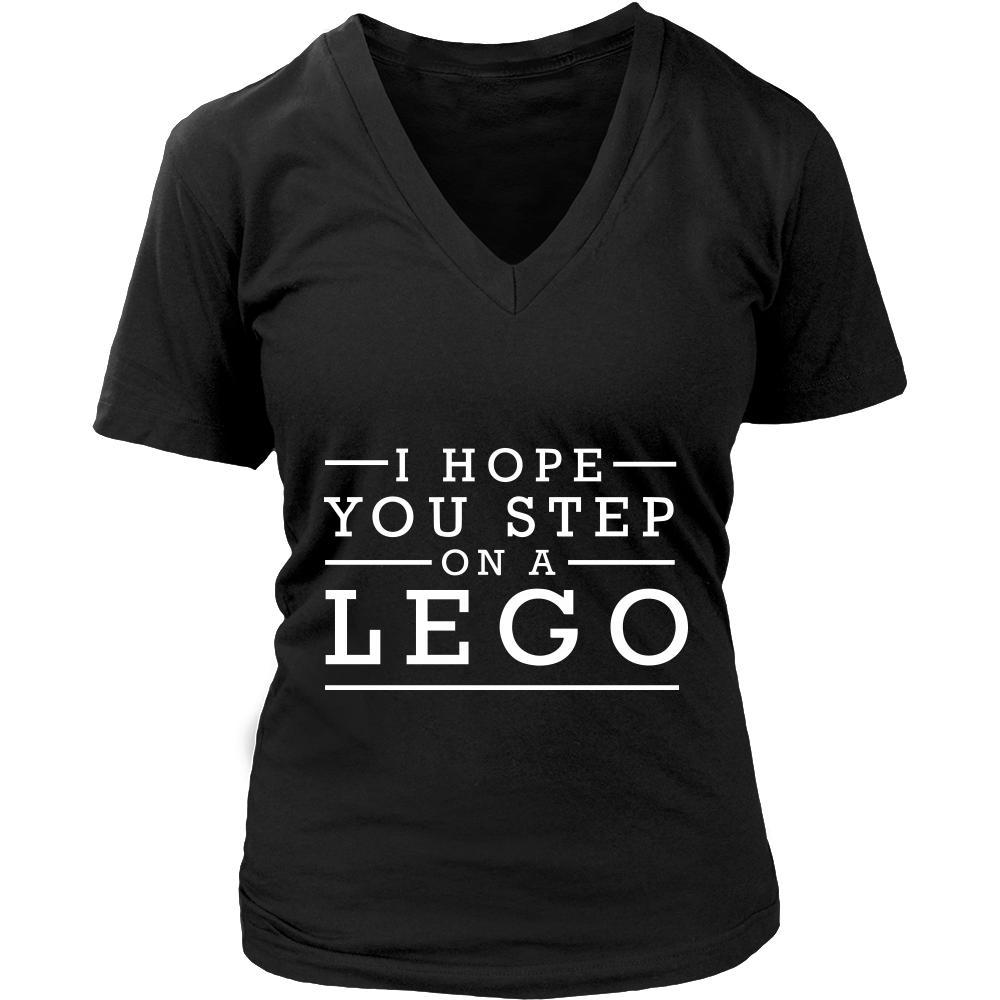 I Hope You Step On A Lego Humor Gag Funny Quotes V-Neck/T-Shirt/Crewneck Sweatshirt/Hoodie-T-shirt-District Womens V-Neck-Black-JoyHip.Com