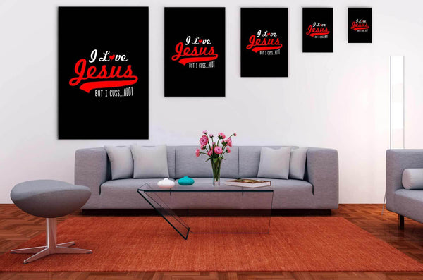 I Love Jesus But I Cuss Alot Sarcasm Canvas Wall Art Room Decor Sarcastic Gifts-Canvas Wall Art 2-JoyHip.Com