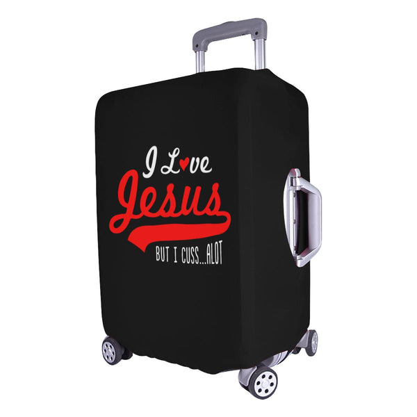 I Love Jesus But I Cuss Alot Sarcastic Travel Luggage Cover Suitcase Protector-JoyHip.Com