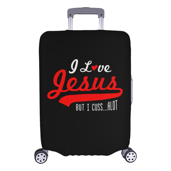 I Love Jesus But I Cuss Alot Sarcastic Travel Luggage Cover Suitcase Protector-L-Black-JoyHip.Com