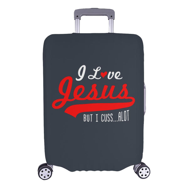 I Love Jesus But I Cuss Alot Sarcastic Travel Luggage Cover Suitcase Protector-L-Grey-JoyHip.Com