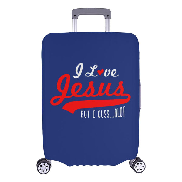 I Love Jesus But I Cuss Alot Sarcastic Travel Luggage Cover Suitcase Protector-L-Navy-JoyHip.Com