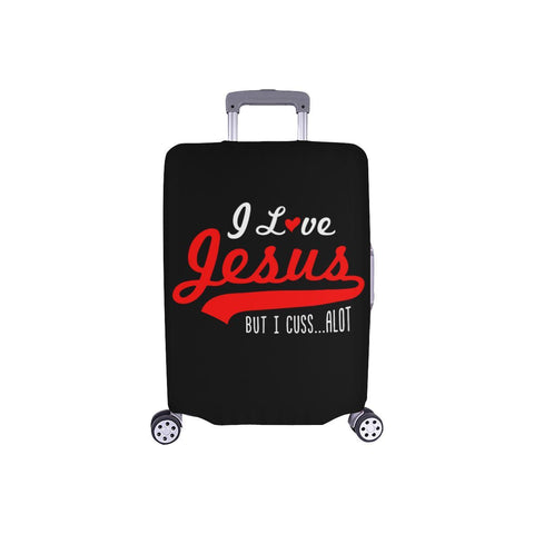 I Love Jesus But I Cuss Alot Sarcastic Travel Luggage Cover Suitcase Protector-S-Black-JoyHip.Com