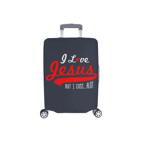 I Love Jesus But I Cuss Alot Sarcastic Travel Luggage Cover Suitcase Protector-S-Grey-JoyHip.Com
