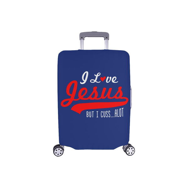 I Love Jesus But I Cuss Alot Sarcastic Travel Luggage Cover Suitcase Protector-S-Navy-JoyHip.Com