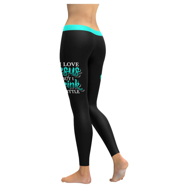 I Love Jesus But I Drink A Little Soft Leggings For Women Cute Funny Christian-JoyHip.Com