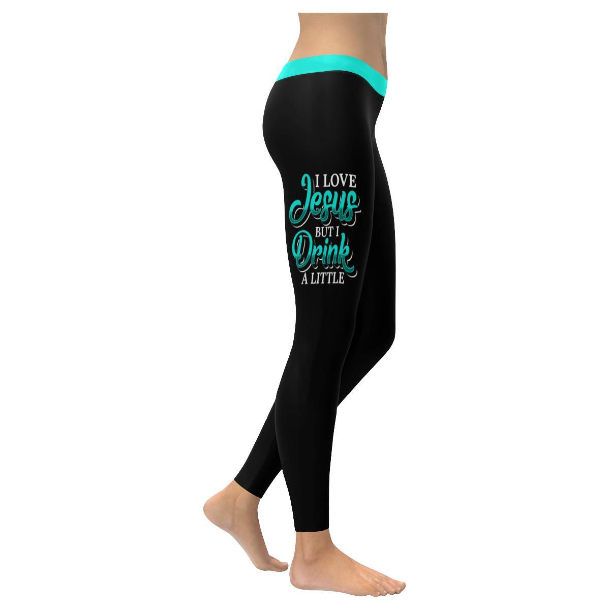 I Love Jesus But I Drink A Little Soft Leggings For Women Cute Funny Christian-XXS-Black-JoyHip.Com