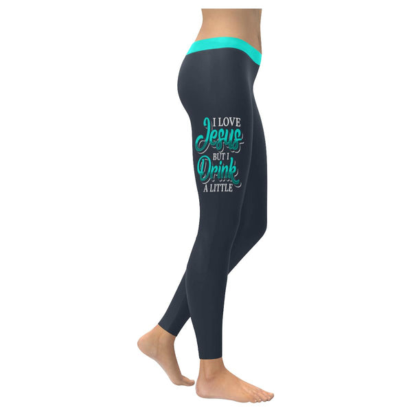 I Love Jesus But I Drink A Little Soft Leggings For Women Cute Funny Christian-XXS-Grey-JoyHip.Com