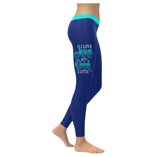 I Love Jesus But I Drink A Little Soft Leggings For Women Cute Funny Christian-XXS-Navy-JoyHip.Com