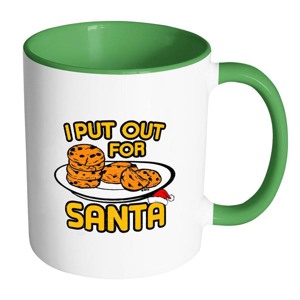 I Put Out Cookies For Santa Festive Funny Ugly Christmas Holiday Sweater 11oz Accent Coffee Mug (7 Colors)-Drinkware-Accent Mug - Green-JoyHip.Com