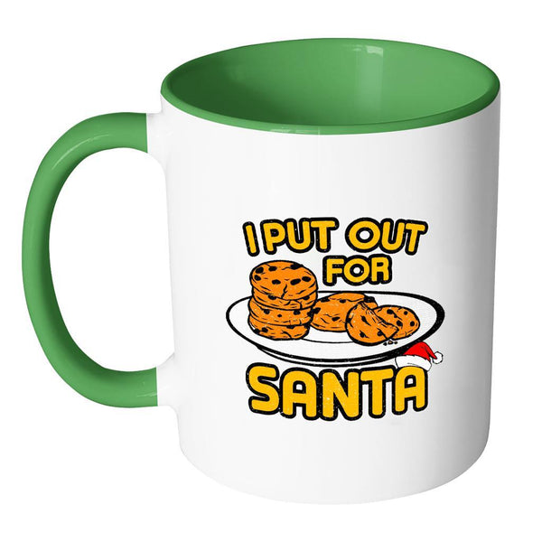 I Put Out Cookies For Santa Festive Funny Ugly Christmas Holiday Sweater 11oz Accent Coffee Mug (7 Colors)-Drinkware-JoyHip.Com