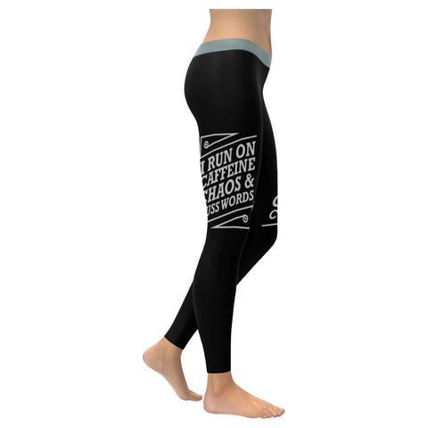 I Run On Caffeine Chaos & Cuss Words Humor Gag Funny Quote UPF40+ Women Leggings-XXS-Black-JoyHip.Com