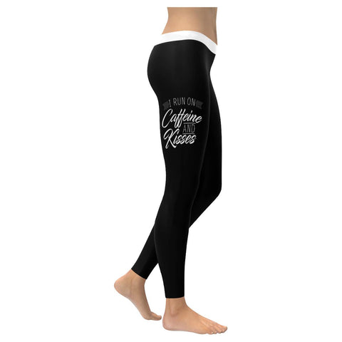 I Run On Caffeine & Kisses Soft Leggings For Women Funny Mothers Day Gifts Ideas-XXS-Black-JoyHip.Com