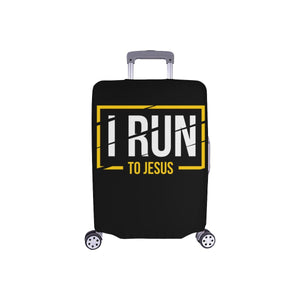 I Run To Jesus Christian Travel Luggage Cover Suitcase Protector Fits 18-28 Inch-S-Black-JoyHip.Com