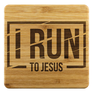 I Run To Jesus Funny Drink Coasters Set Christian Gift Ideas Religious Spiritual-Coasters-Bamboo Coaster - 4pc-JoyHip.Com