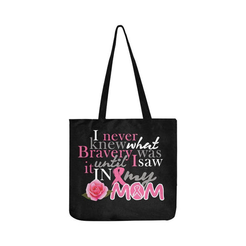 I Saw Bravery In My Mom Breast Cancer Awareness Pink Ribbon Reusable Produce Bag-One Size-Black-JoyHip.Com