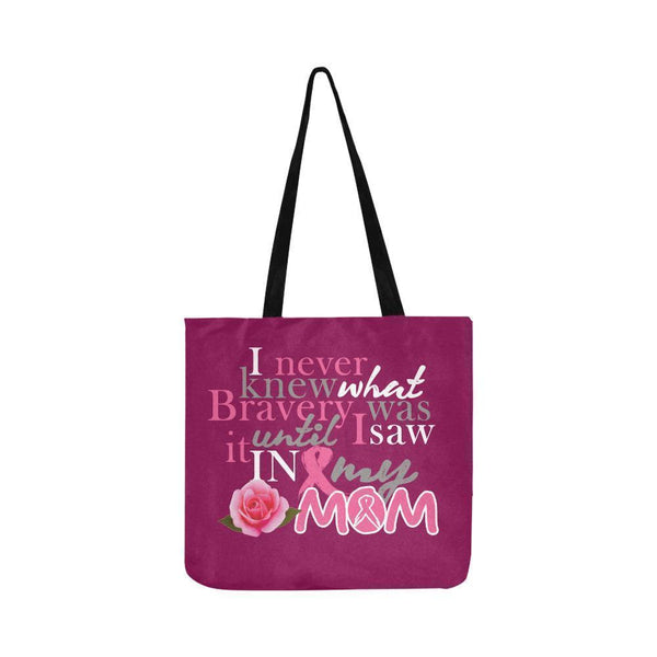 I Saw Bravery In My Mom Breast Cancer Awareness Pink Ribbon Reusable Produce Bag-One Size-Maroon-JoyHip.Com
