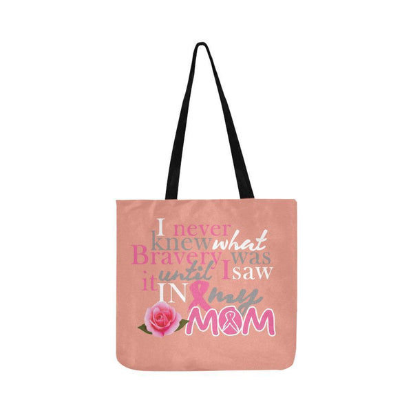 I Saw Bravery In My Mom Breast Cancer Awareness Pink Ribbon Reusable Produce Bag-One Size-Peach-JoyHip.Com