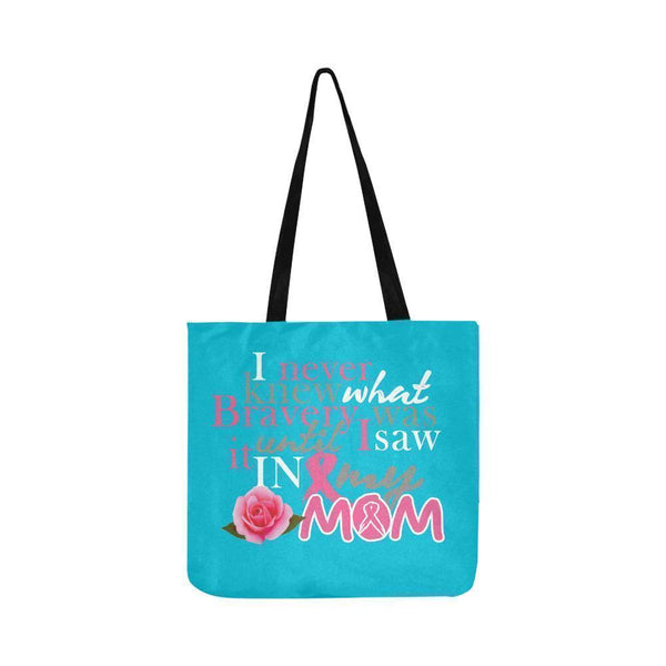 I Saw Bravery In My Mom Breast Cancer Awareness Pink Ribbon Reusable Produce Bag-One Size-Turquoise-JoyHip.Com