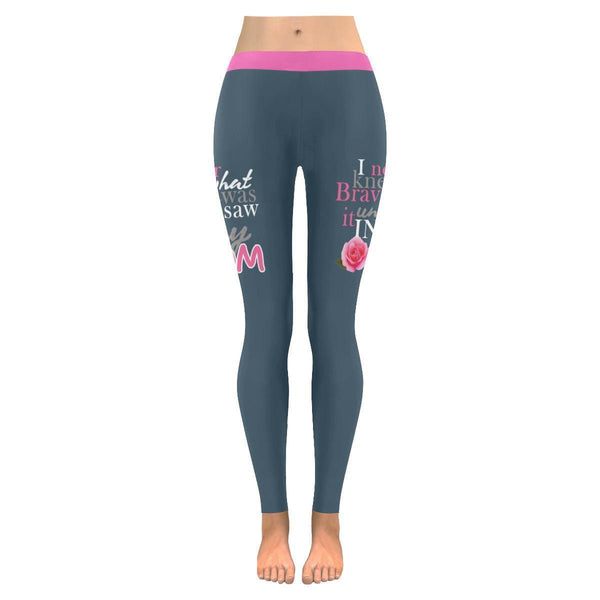 I Saw Bravery In My Mom Breast Cancer Awareness Pink Ribbon UPF40 Women Leggings-JoyHip.Com