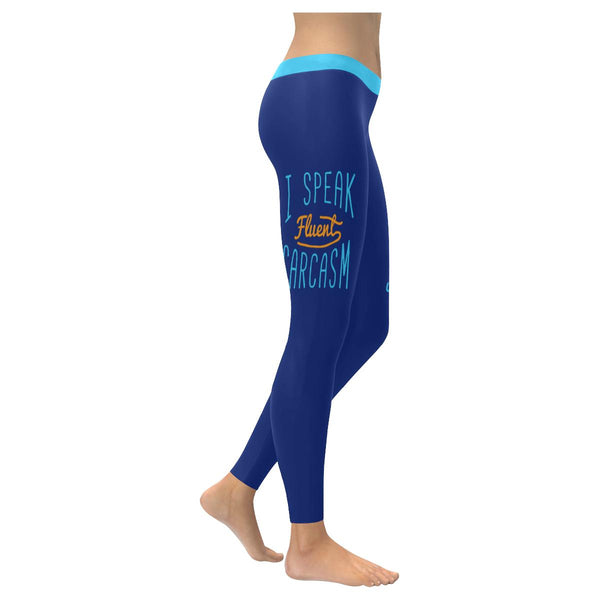 I Speak Fluent Sarcasm Soft Leggings For Women Cute Funny Sarcastic Gift Ideas-XXS-Navy-JoyHip.Com