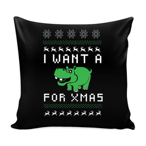 I Want A Hippopotamus For Xmas Funny Festive Ugly Christmas Holiday Sweater Decorative Throw Pillow Cases Cover(4 Colors)-Pillows-Black-JoyHip.Com