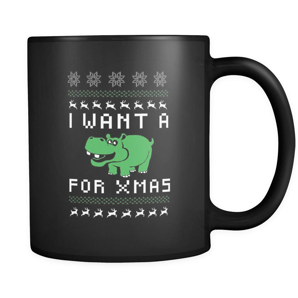 I Want A Hippopotamus For Xmas Funny Ugly Christmas Holiday Sweater Black 11oz Coffee Mug-Drinkware-Ugly Christmas Sweater Black 11oz Coffee Mug-JoyHip.Com