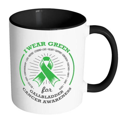I Wear Green For Gallbladder & Bile Duct Cancer Awareness Kelly Green Ribbon 11oz Accent Coffee Mug(7 Colors)-Drinkware-Accent Mug - Black-JoyHip.Com
