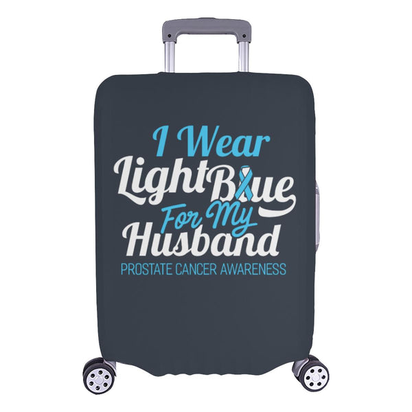 I Wear Light Blue For My Husband Prostate Cancer Travel Luggage Cover Suitcase-L-Grey-JoyHip.Com