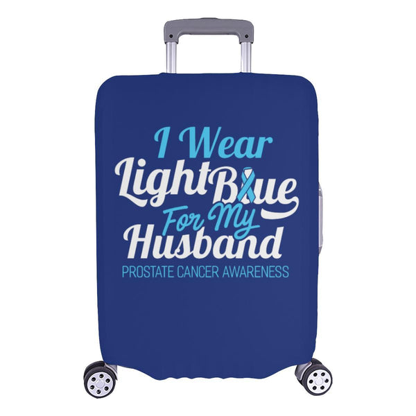 I Wear Light Blue For My Husband Prostate Cancer Travel Luggage Cover Suitcase-L-Navy-JoyHip.Com