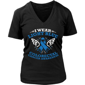 I Wear Light Blue Ribbon Colorectal Cancer Awareness Women V-Neck T-Shirt-T-shirt-District Womens V-Neck-Black-JoyHip.Com