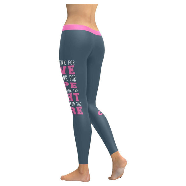I Wear Pink For Love Hope Fight Cure Breast Cancer Pink Ribbon Womens Leggings-JoyHip.Com