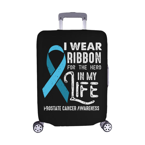 I Wear Ribbon For The Hero In My Life Prostate Cancer Travel Luggage Cover-M-Black-JoyHip.Com