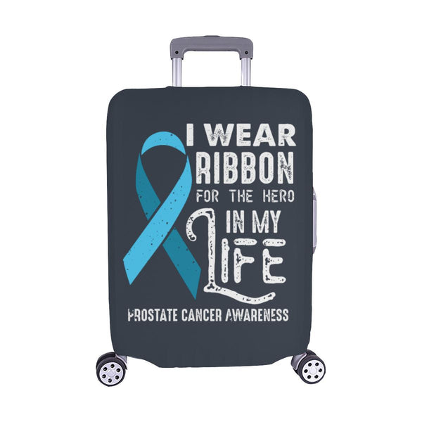 I Wear Ribbon For The Hero In My Life Prostate Cancer Travel Luggage Cover-M-Grey-JoyHip.Com