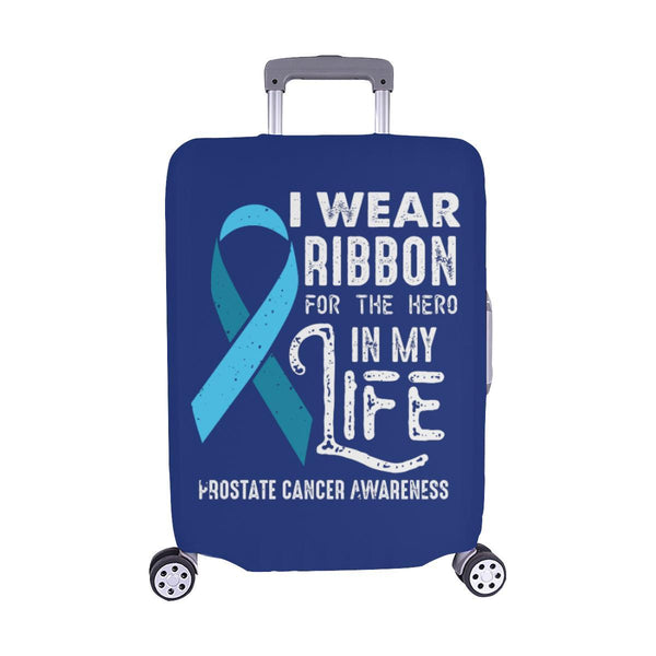 I Wear Ribbon For The Hero In My Life Prostate Cancer Travel Luggage Cover-M-Navy-JoyHip.Com