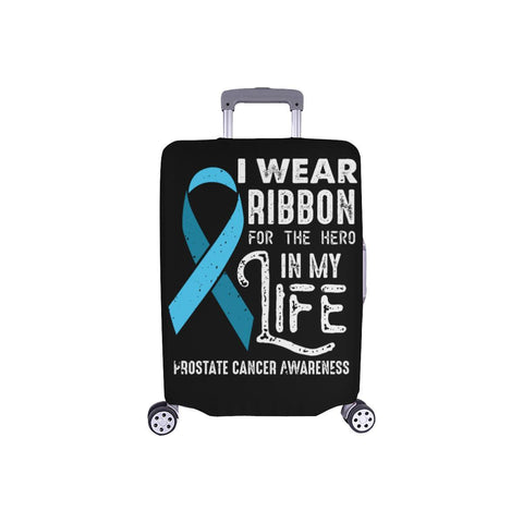 I Wear Ribbon For The Hero In My Life Prostate Cancer Travel Luggage Cover-S-Black-JoyHip.Com