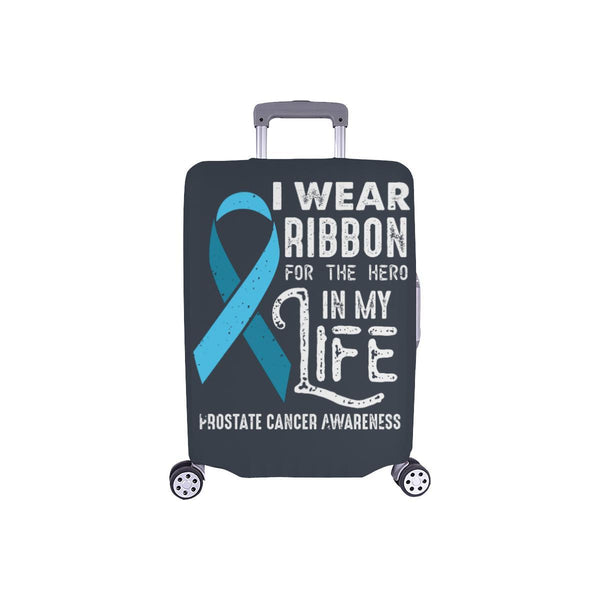 I Wear Ribbon For The Hero In My Life Prostate Cancer Travel Luggage Cover-S-Grey-JoyHip.Com