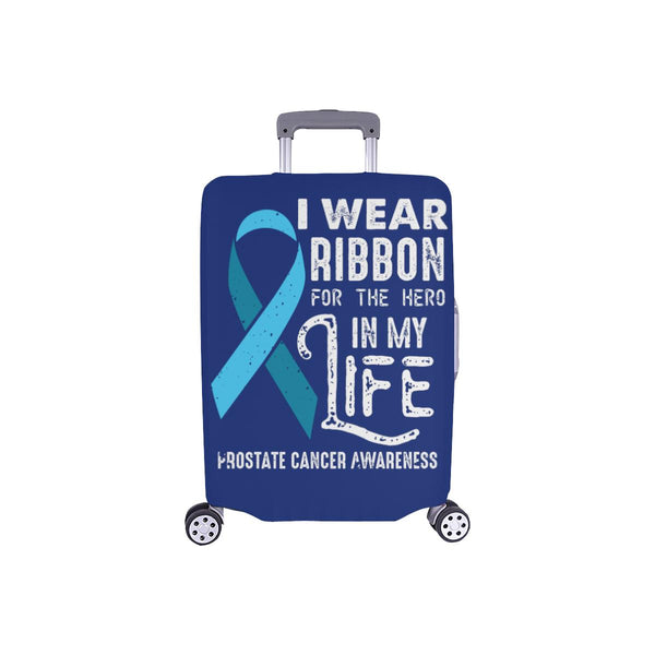 I Wear Ribbon For The Hero In My Life Prostate Cancer Travel Luggage Cover-S-Navy-JoyHip.Com