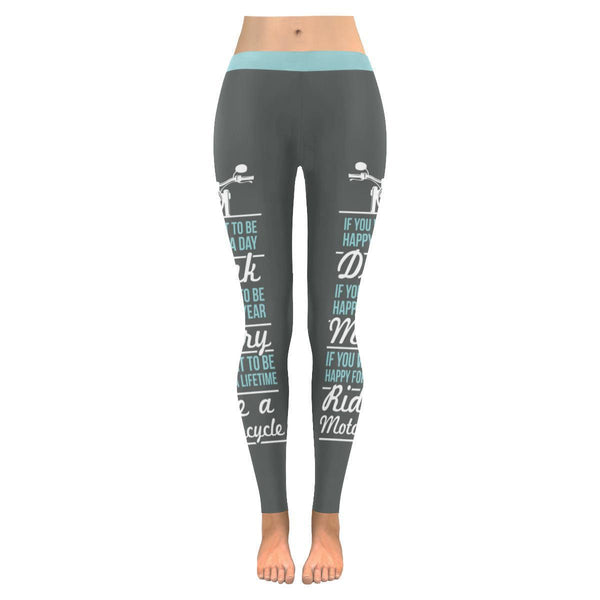 If You Want To Be Happy For A Lifetime Ride A Motorcycle UPF40+ Womens Leggings-JoyHip.Com
