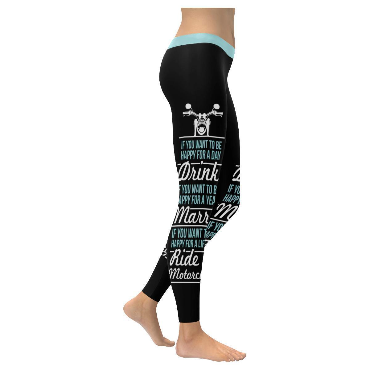 If You Want To Be Happy For A Lifetime Ride A Motorcycle UPF40+ Womens Leggings-XXS-Black-JoyHip.Com