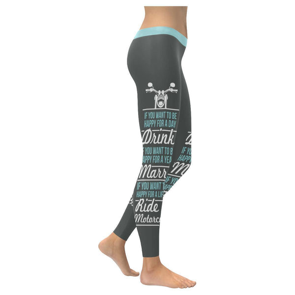 If You Want To Be Happy For A Lifetime Ride A Motorcycle UPF40+ Womens Leggings-XXS-Grey-JoyHip.Com
