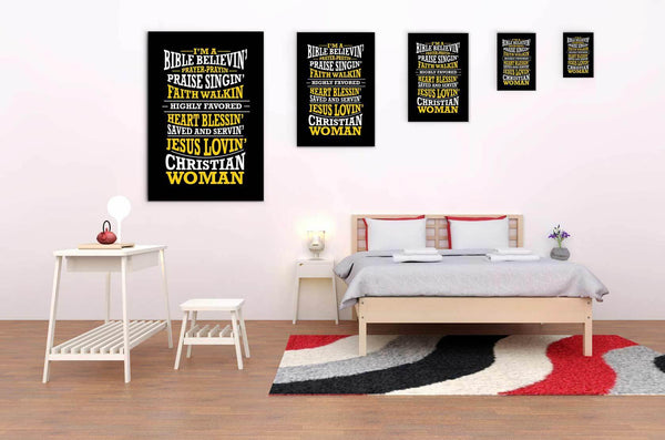 Im A Bible Believin Jesus Lovin Christian Woman Christian Canvas Wall Art Room-Canvas Wall Art 2-JoyHip.Com