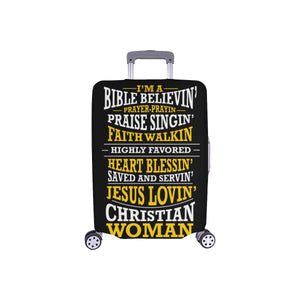 Im A Bible Believin Jesus Lovin Christian Woman Christian Travel Luggage Cover-S-Black-JoyHip.Com