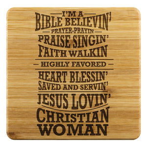 Im A Bible Believin Jesus Lovin Christian Woman Cute Funny Drink Coasters Set-Coasters-Bamboo Coaster - 4pc-JoyHip.Com