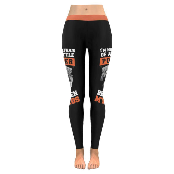 Im Not Afraid Of A Little Power Between My Legs Biker Motorcycle Womens Leggings-M-Black-JoyHip.Com