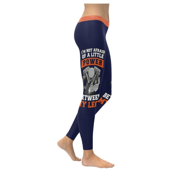 Im Not Afraid Of A Little Power Between My Legs Biker Motorcycle Womens Leggings-XXS-Navy-JoyHip.Com