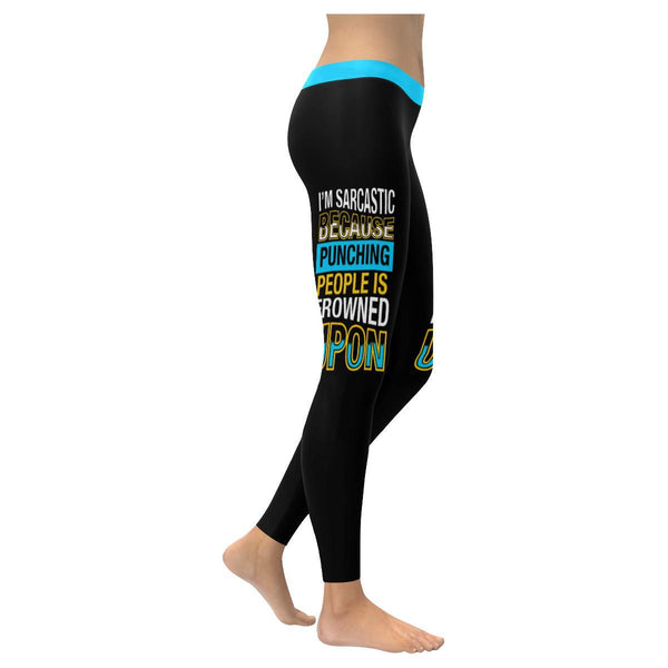 Im Sarcastic Because Punching People Is Frowned Upon Soft Leggings For Women-XXS-Black-JoyHip.Com