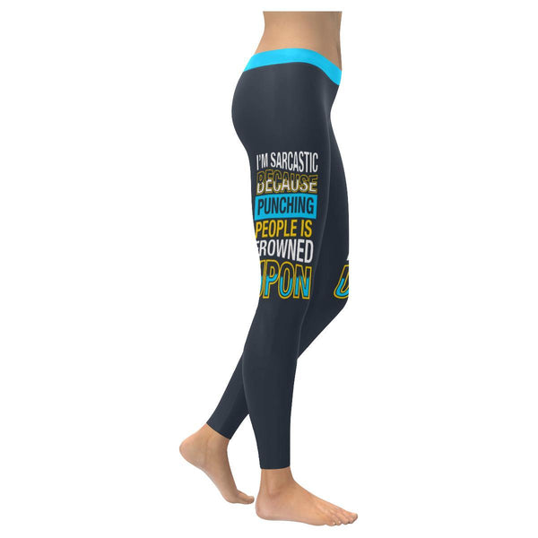 Im Sarcastic Because Punching People Is Frowned Upon Soft Leggings For Women-XXS-Grey-JoyHip.Com